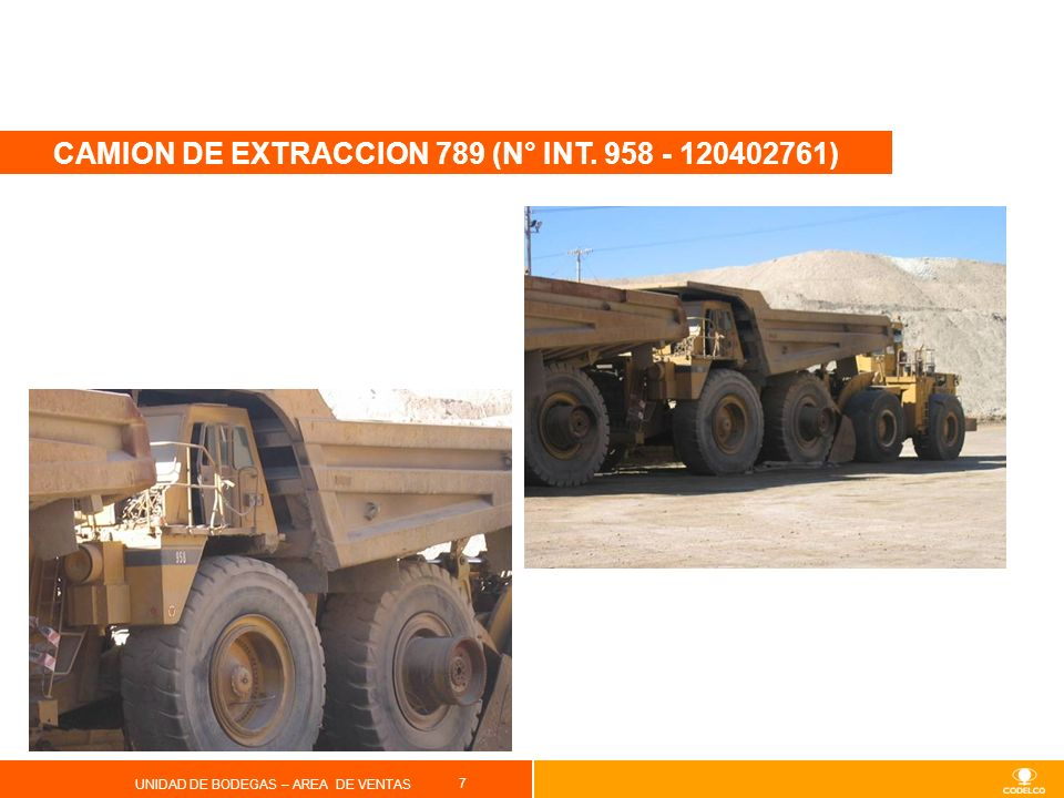 CAMION DE EXTRACCION 789 (N° INT. 958 - 120402761)
