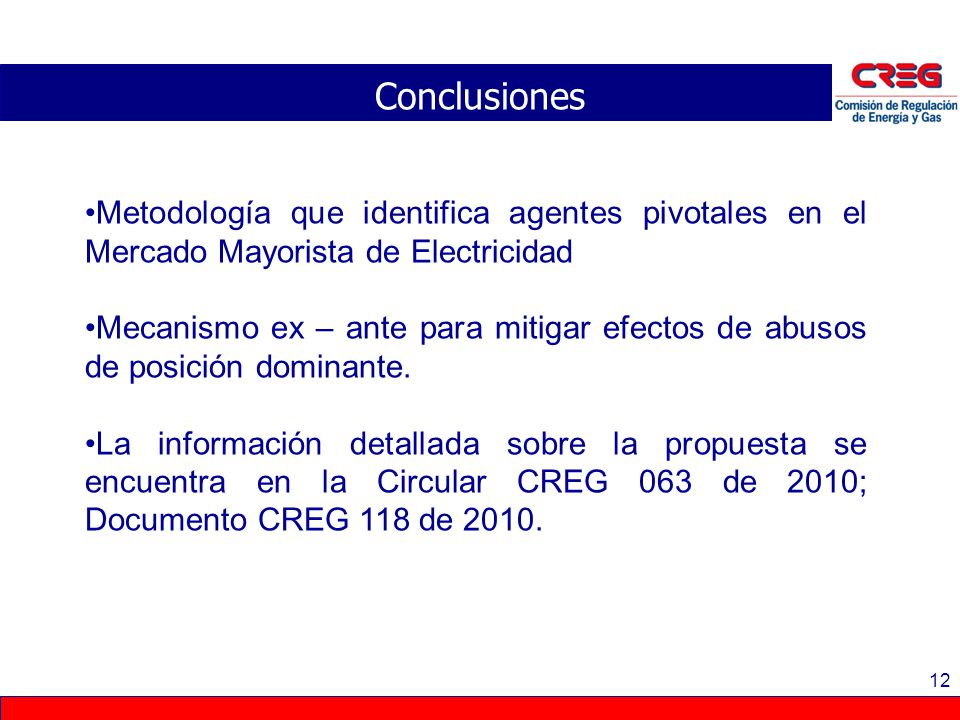 Conclusiones Metodología que identifica agentes pivotales en el Mercado Mayorista de Electricidad.
