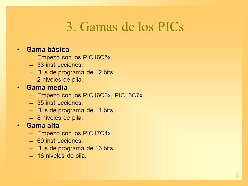 3. Gamas de los PICs Gama básica Gama media Gama alta