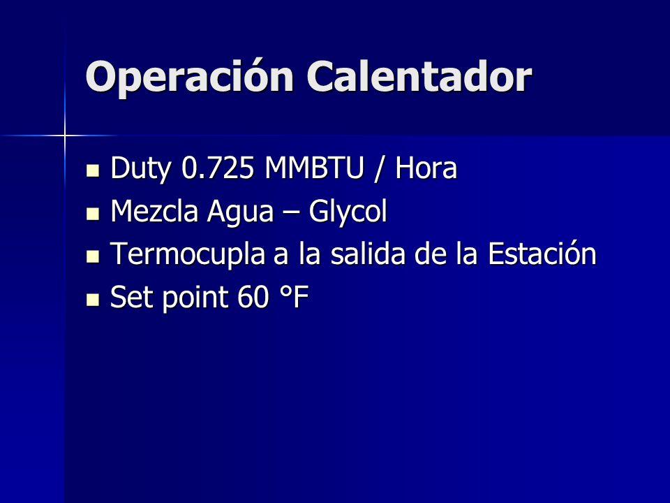Operación Calentador Duty 0.725 MMBTU / Hora Mezcla Agua – Glycol