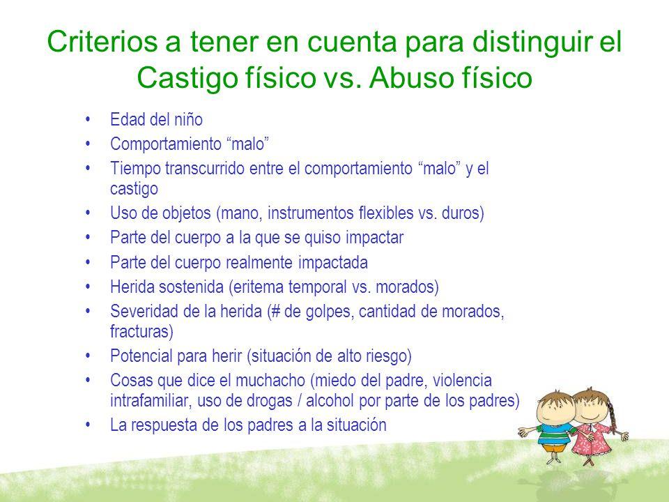 Criterios a tener en cuenta para distinguir el Castigo físico vs