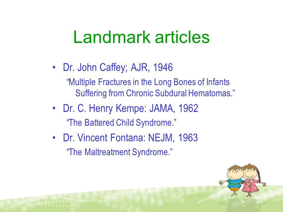 Landmark articles Dr. John Caffey; AJR, 1946