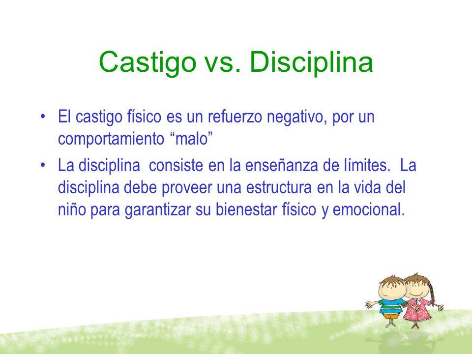 Castigo vs. Disciplina El castigo físico es un refuerzo negativo, por un comportamiento malo