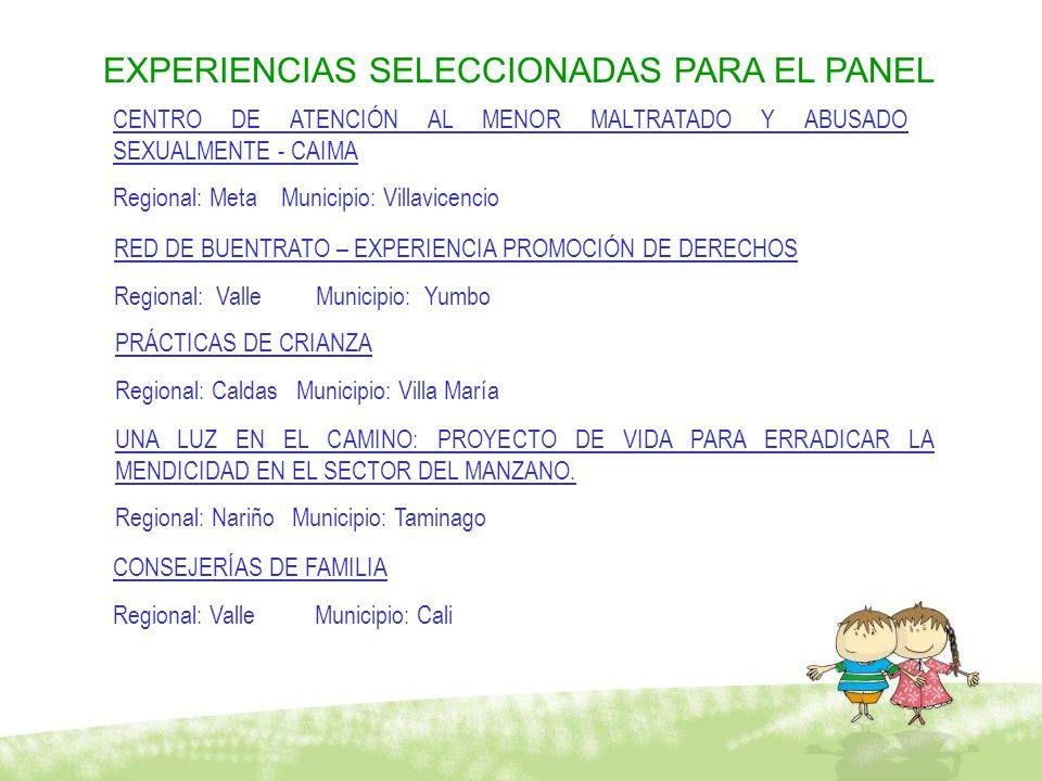 EXPERIENCIAS SELECCIONADAS PARA EL PANEL