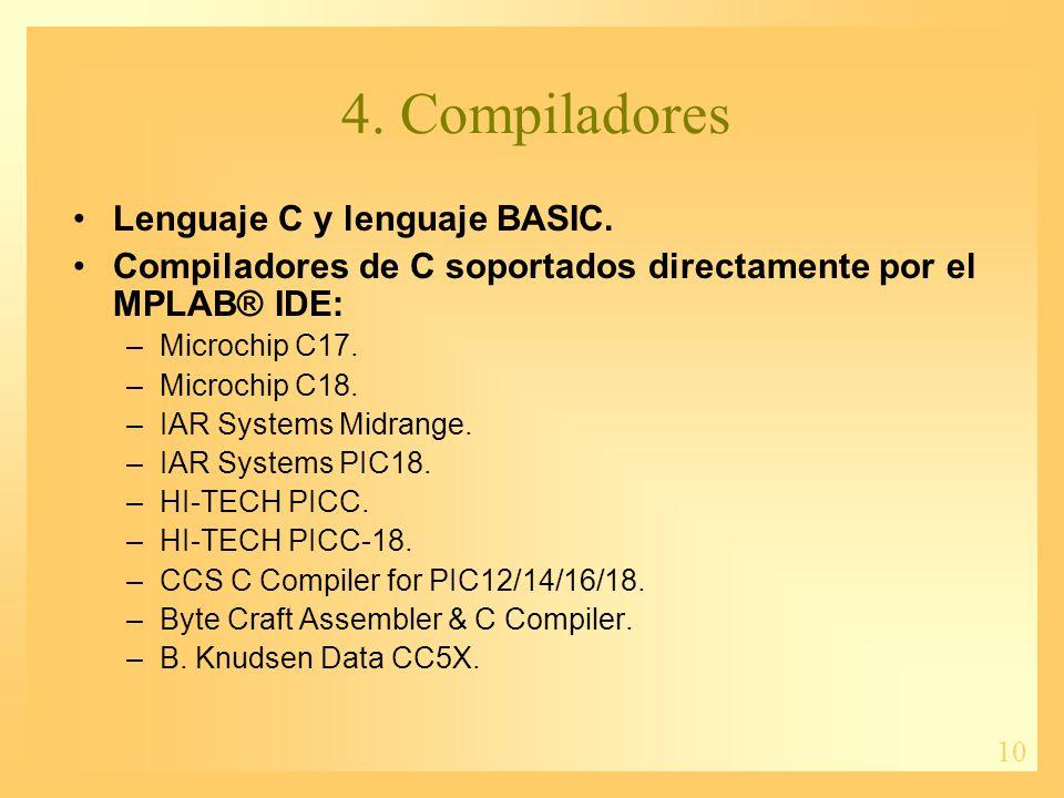 4. Compiladores Lenguaje C y lenguaje BASIC.