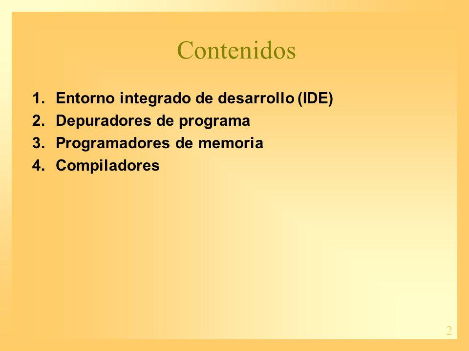 Contenidos Entorno integrado de desarrollo (IDE)
