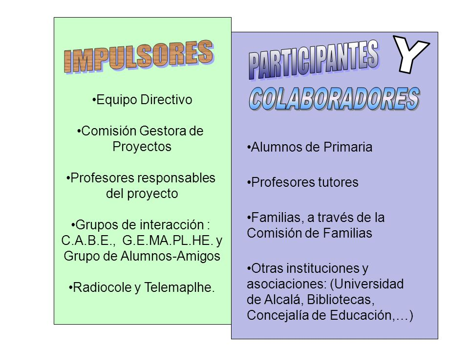 IMPULSORES PARTICIPANTES Y COLABORADORES Equipo Directivo