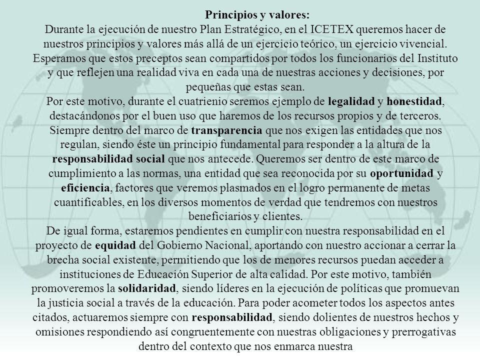 Principios y valores: