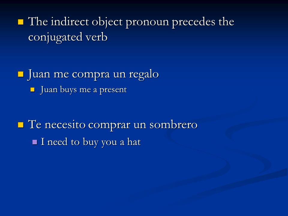 The indirect object pronoun precedes the conjugated verb