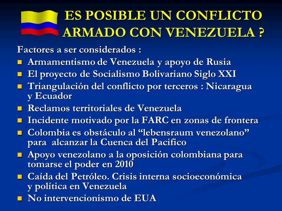 ES POSIBLE UN CONFLICTO ARMADO CON VENEZUELA