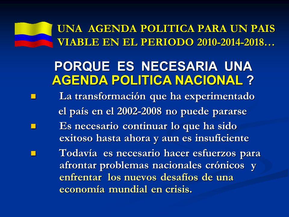 UNA AGENDA POLITICA PARA UN PAIS VIABLE EN EL PERIODO 2010-2014-2018…