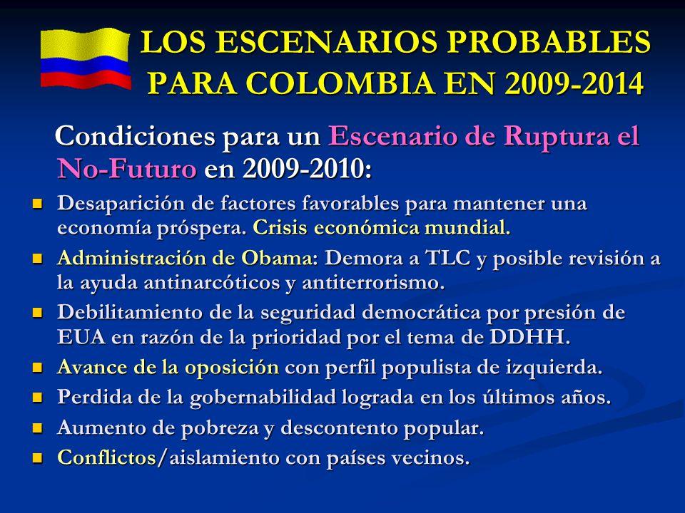 LOS ESCENARIOS PROBABLES PARA COLOMBIA EN 2009-2014