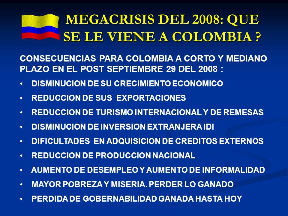 MEGACRISIS DEL 2008: QUE SE LE VIENE A COLOMBIA