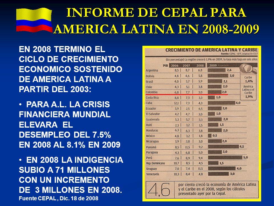 INFORME DE CEPAL PARA AMERICA LATINA EN 2008-2009