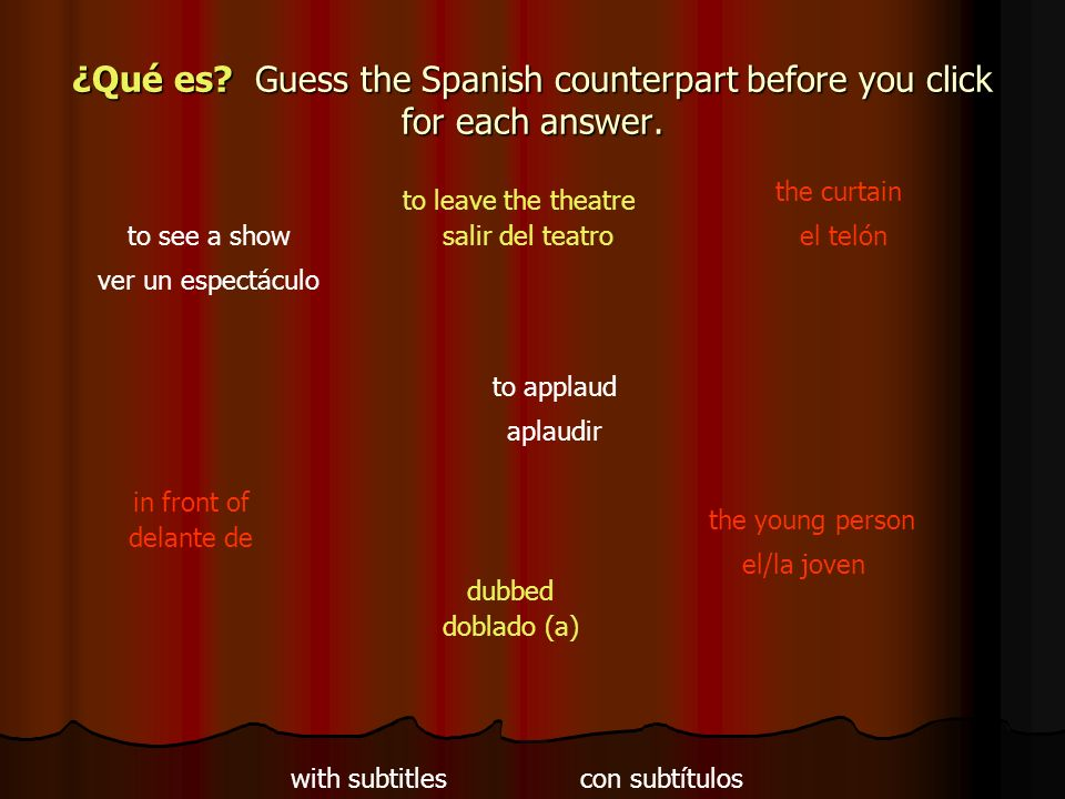 ¿Qué es Guess the Spanish counterpart before you click for each answer.