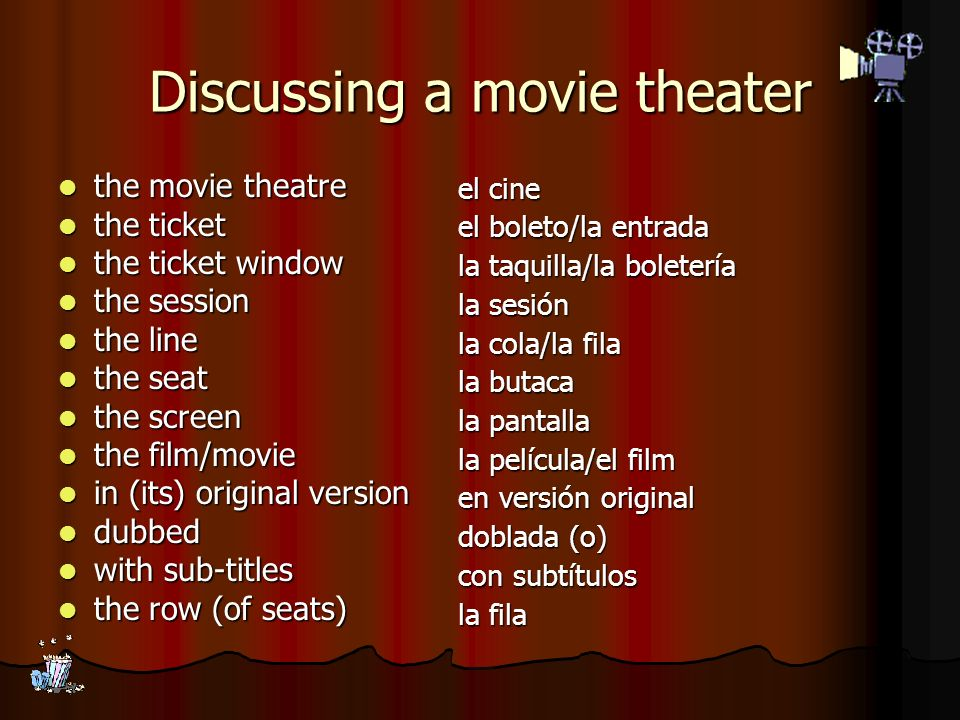 Discussing a movie theater