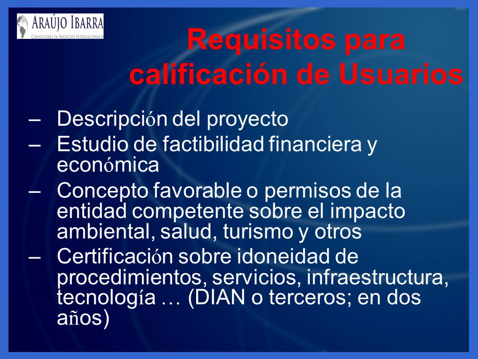 Requisitos para calificación de Usuarios