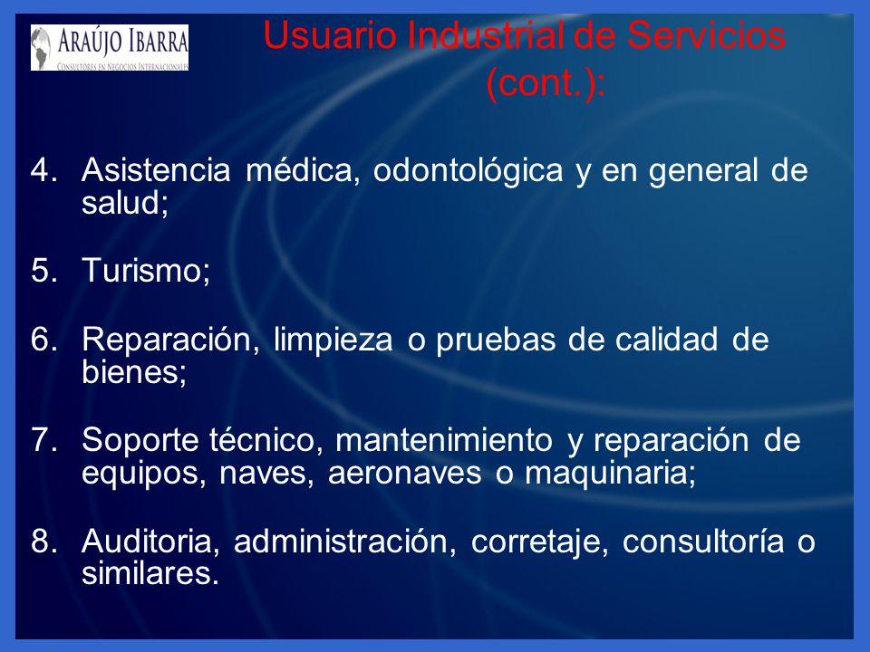 Usuario Industrial de Servicios (cont.):