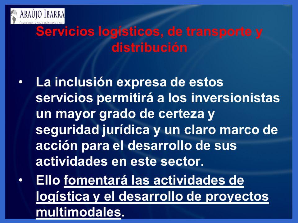 Servicios logísticos, de transporte y distribución