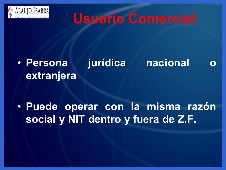 Usuario Comercial: Persona jurídica nacional o extranjera