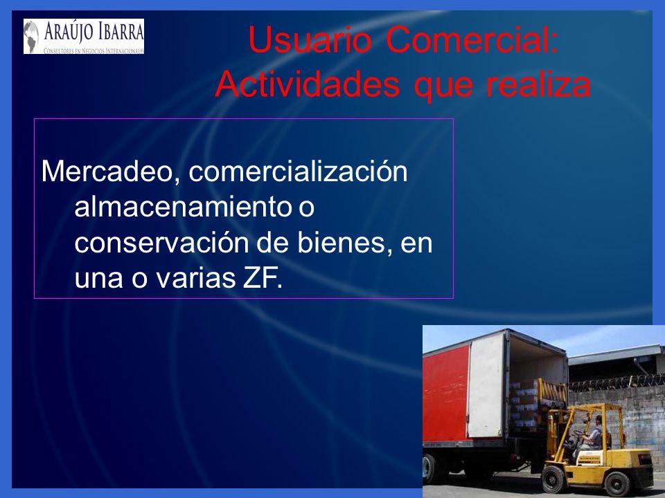Usuario Comercial: Actividades que realiza