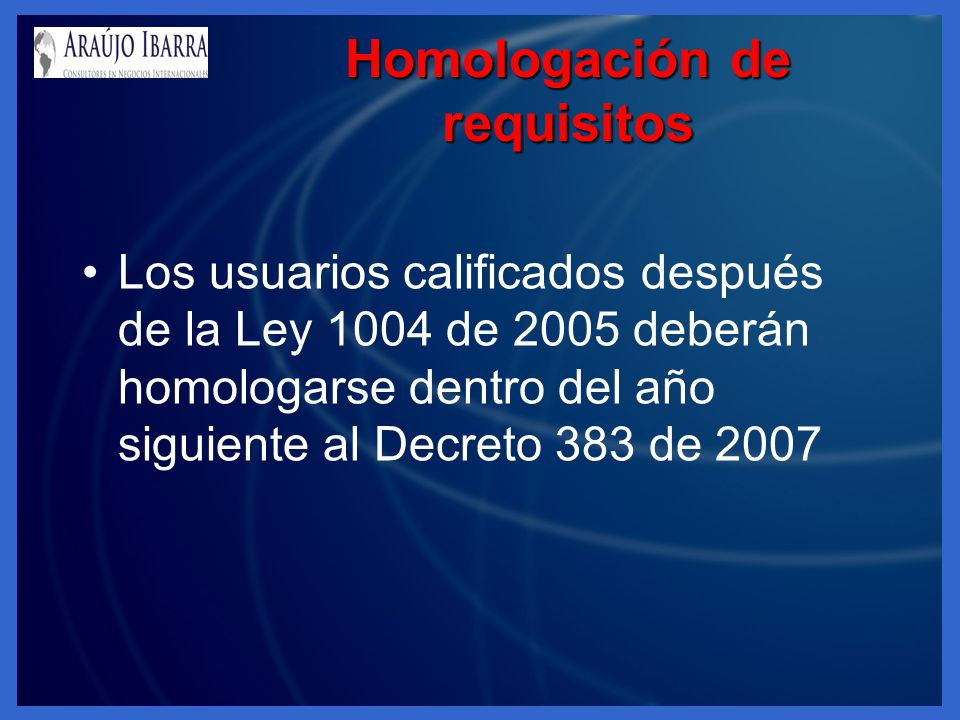 Homologación de requisitos