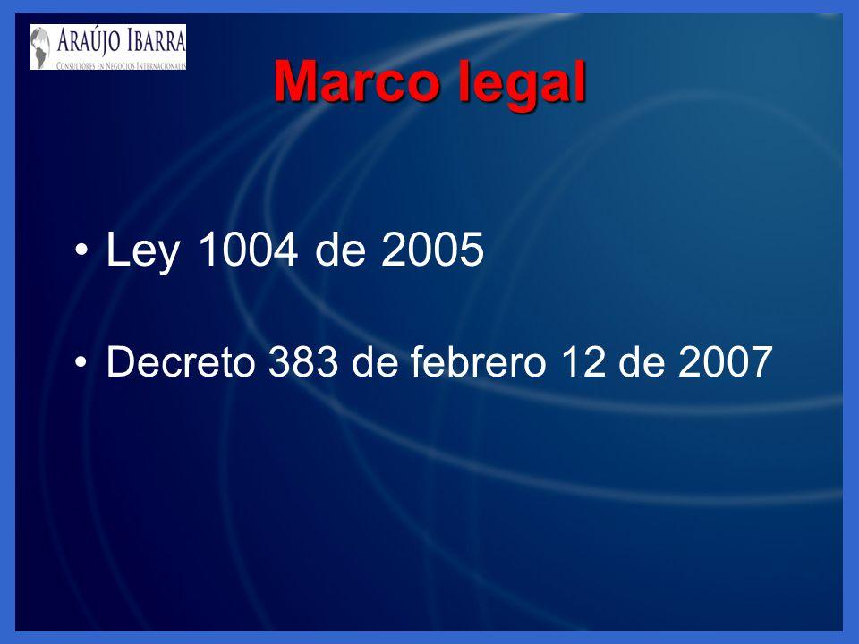 Marco legal Ley 1004 de 2005 Decreto 383 de febrero 12 de 2007