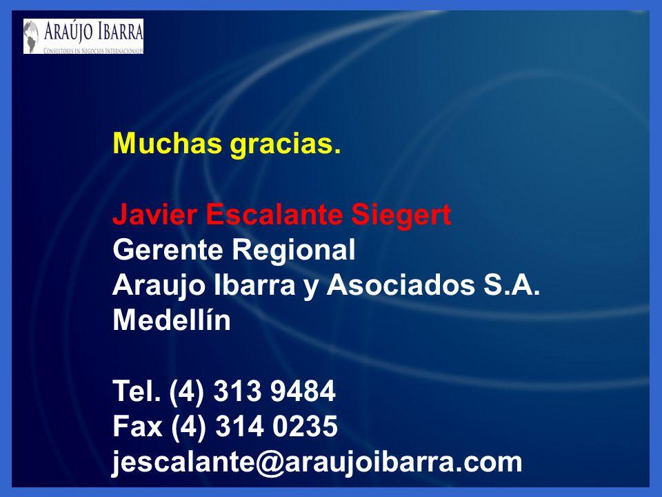 Muchas gracias. Javier Escalante Siegert. Gerente Regional. Araujo Ibarra y Asociados S.A. Medellín.