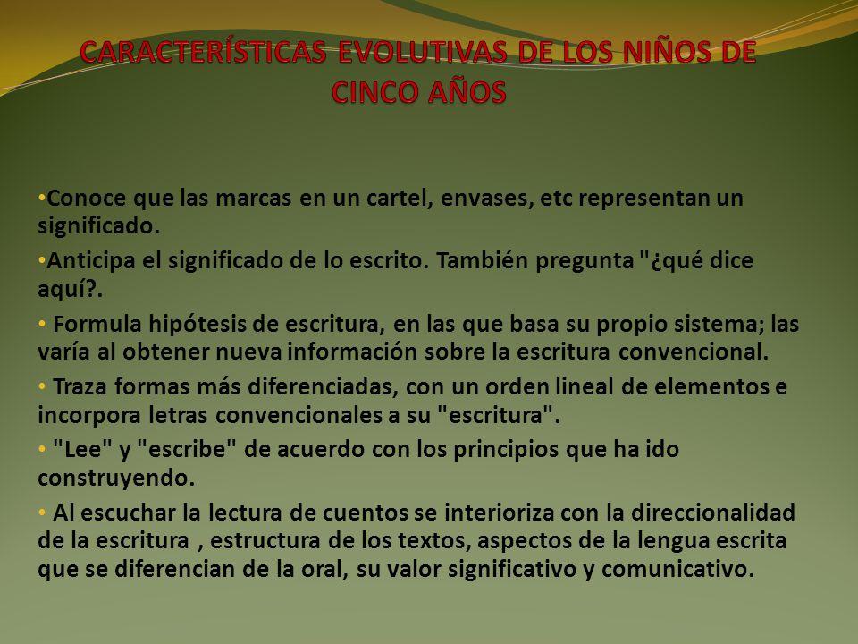 CARACTERÍSTICAS EVOLUTIVAS DE LOS NIÑOS DE CINCO AÑOS
