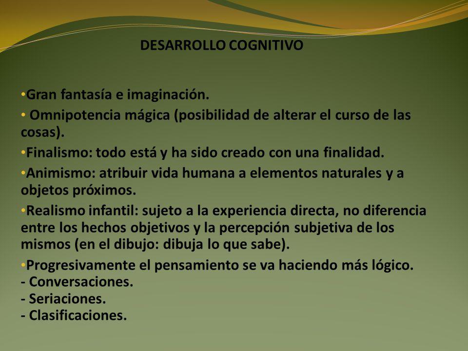 DESARROLLO COGNITIVO Gran fantasía e imaginación. Omnipotencia mágica (posibilidad de alterar el curso de las cosas).