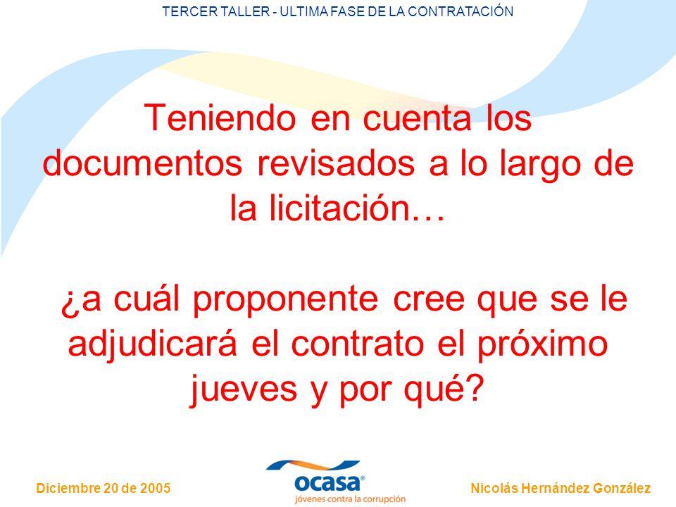 TERCER TALLER - ULTIMA FASE DE LA CONTRATACIÓN