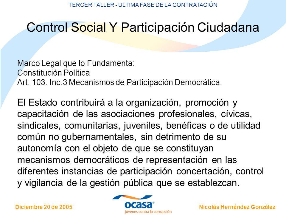 Control Social Y Participación Ciudadana