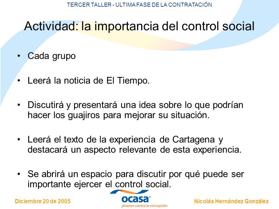 Actividad: la importancia del control social
