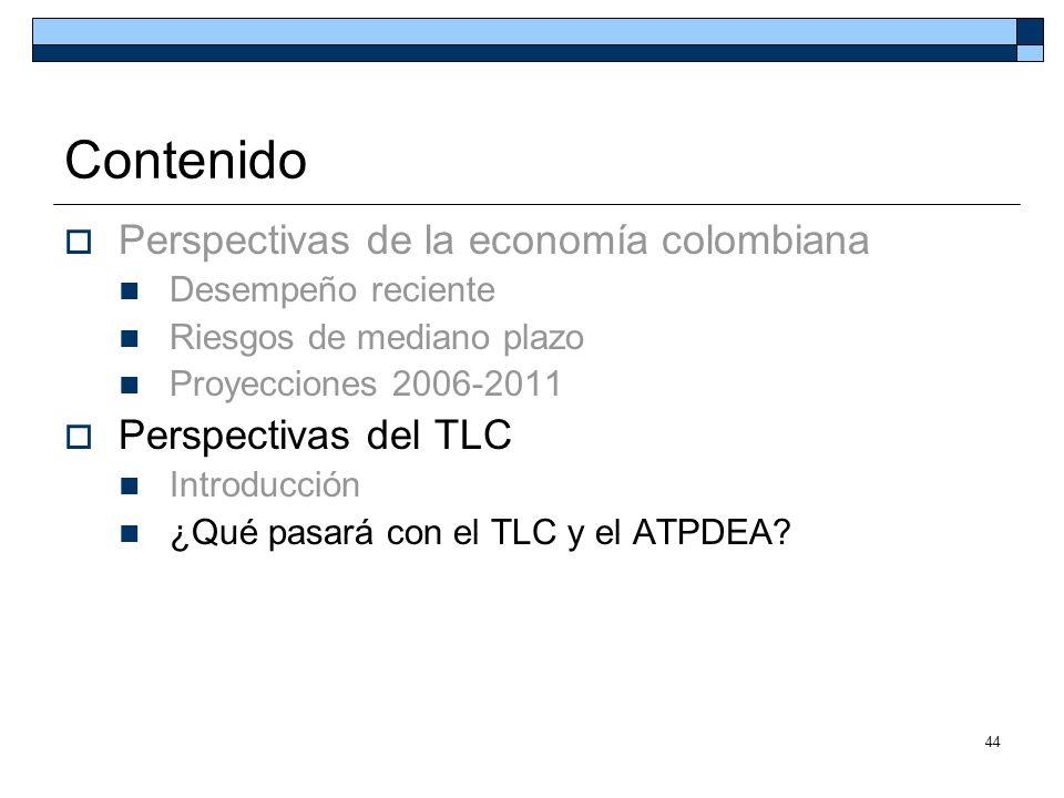 Contenido Perspectivas de la economía colombiana Perspectivas del TLC