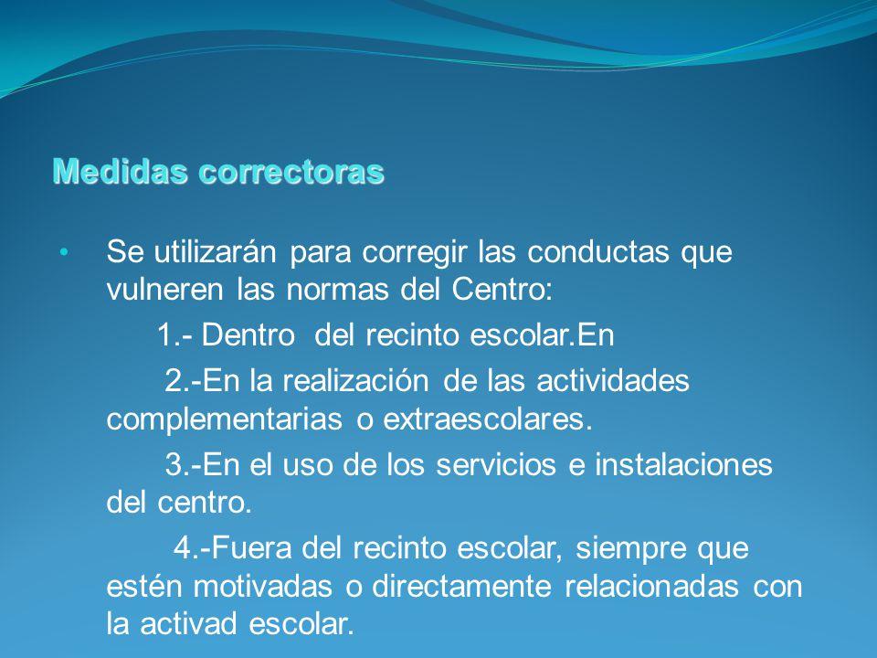Medidas correctoras Se utilizarán para corregir las conductas que vulneren las normas del Centro: 1.- Dentro del recinto escolar.En.