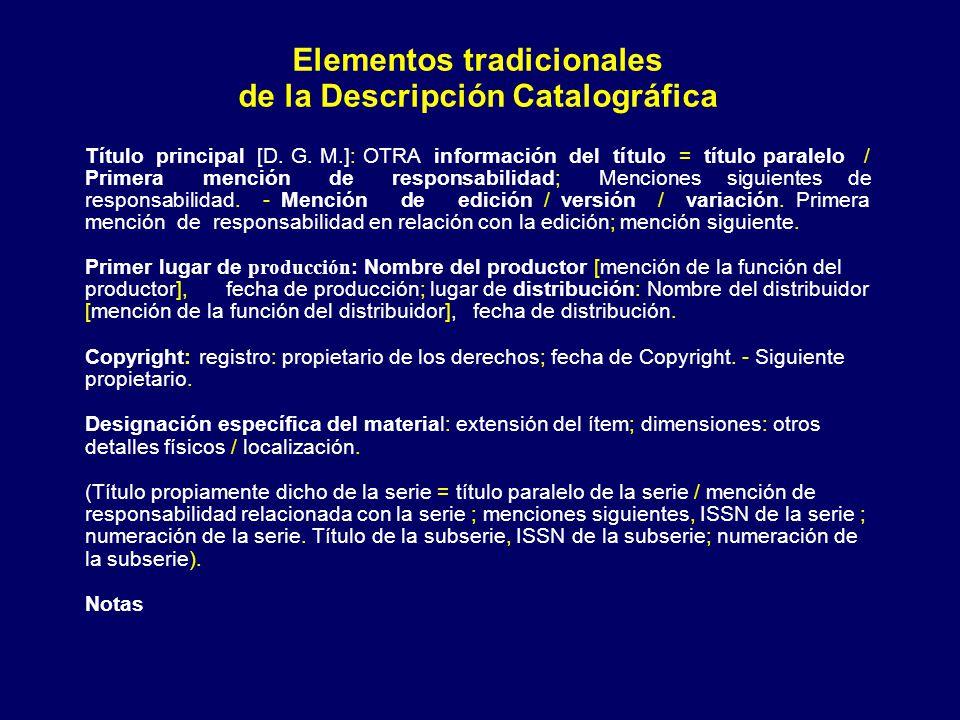 Elementos tradicionales de la Descripción Catalográfica