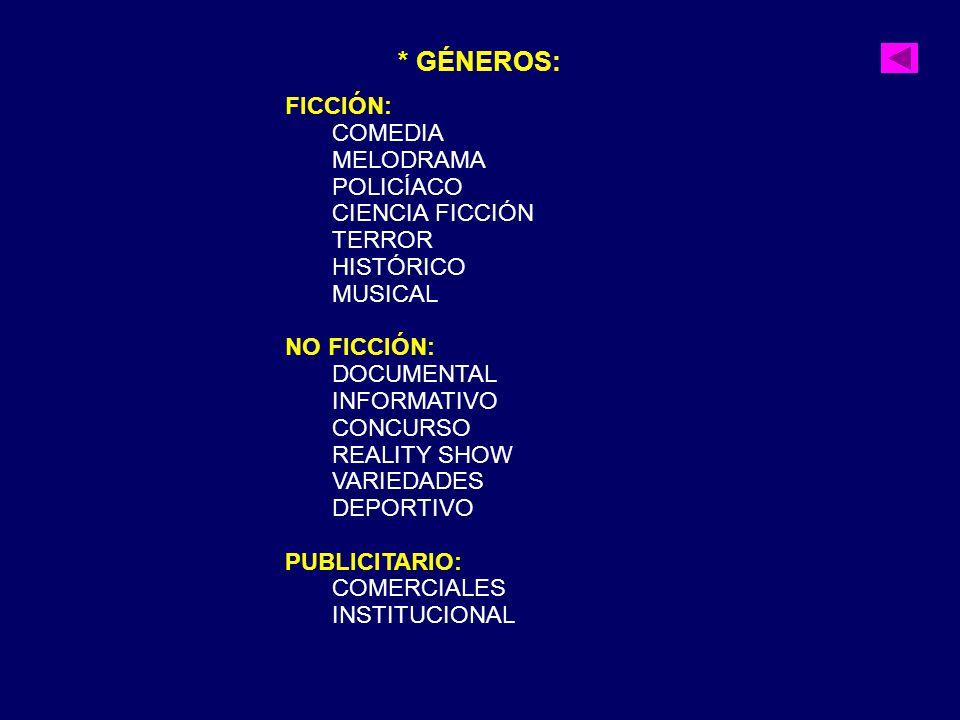 * GÉNEROS: FICCIÓN: COMEDIA MELODRAMA POLICÍACO CIENCIA FICCIÓN TERROR