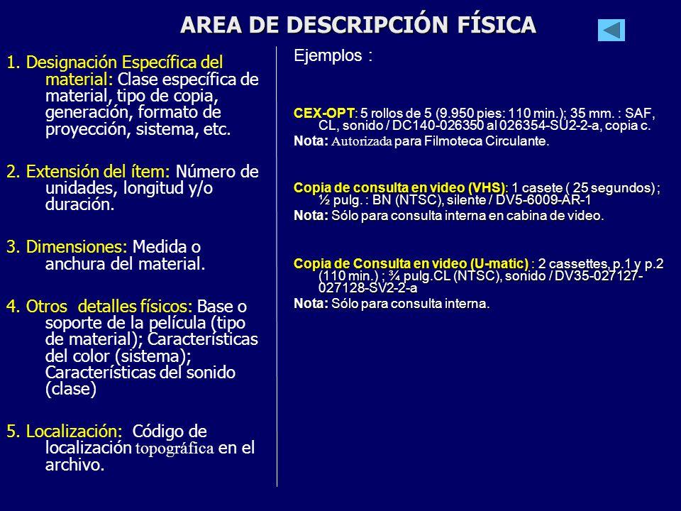 AREA DE DESCRIPCIÓN FÍSICA