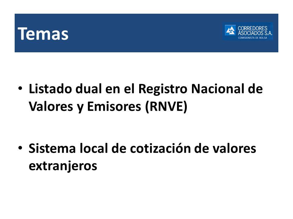 Temas Listado dual en el Registro Nacional de Valores y Emisores (RNVE) Sistema local de cotización de valores extranjeros.