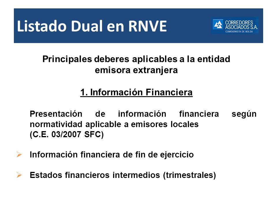 Principales deberes aplicables a la entidad 1. Información Financiera