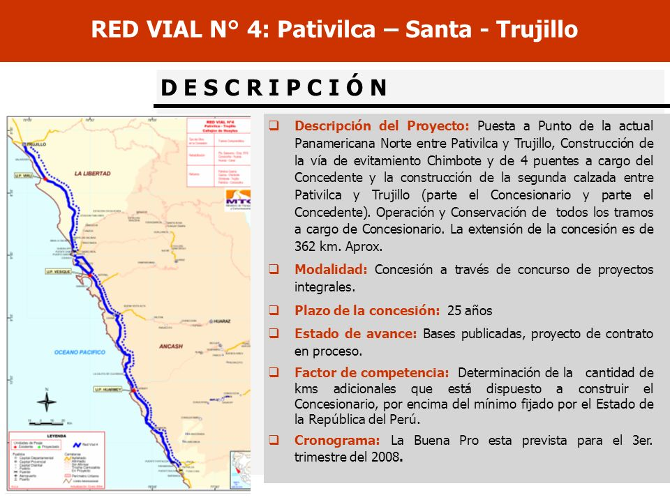 RED VIAL N° 4: Pativilca – Santa - Trujillo