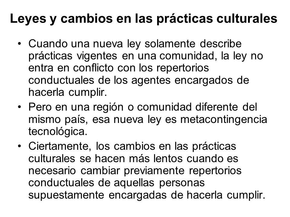 Leyes y cambios en las prácticas culturales
