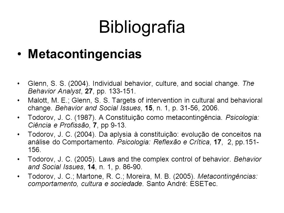 Bibliografia Metacontingencias