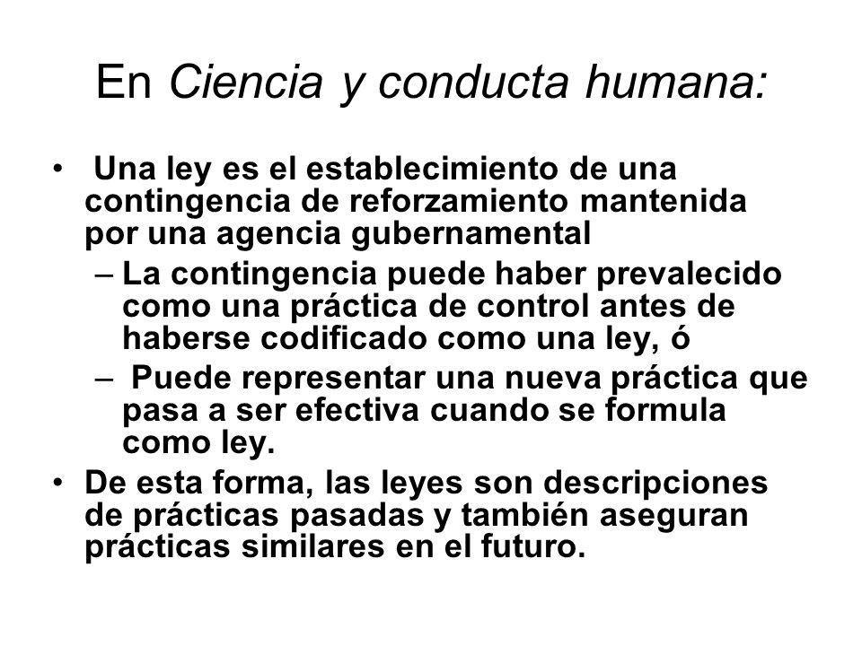 En Ciencia y conducta humana: