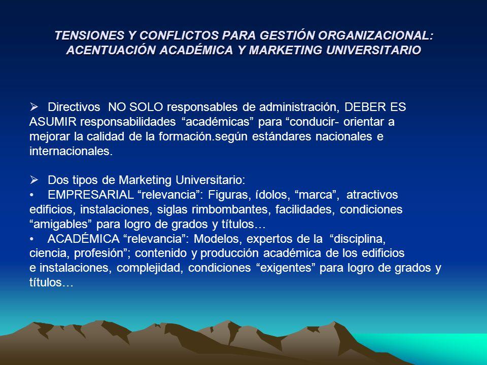 TENSIONES Y CONFLICTOS PARA GESTIÓN ORGANIZACIONAL: ACENTUACIÓN ACADÉMICA Y MARKETING UNIVERSITARIO