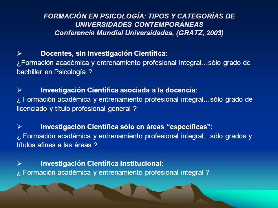FORMACIÓN EN PSICOLOGÍA: TIPOS Y CATEGORÍAS DE UNIVERSIDADES CONTEMPORÁNEAS Conferencia Mundial Universidades, (GRATZ, 2003)