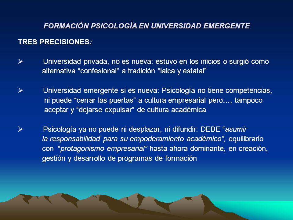 FORMACIÓN PSICOLOGÍA EN UNIVERSIDAD EMERGENTE