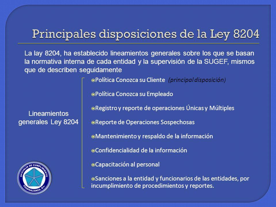 Principales disposiciones de la Ley 8204