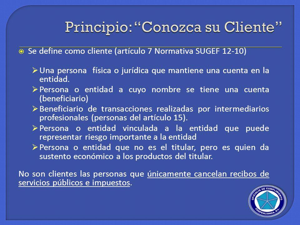 Principio: Conozca su Cliente