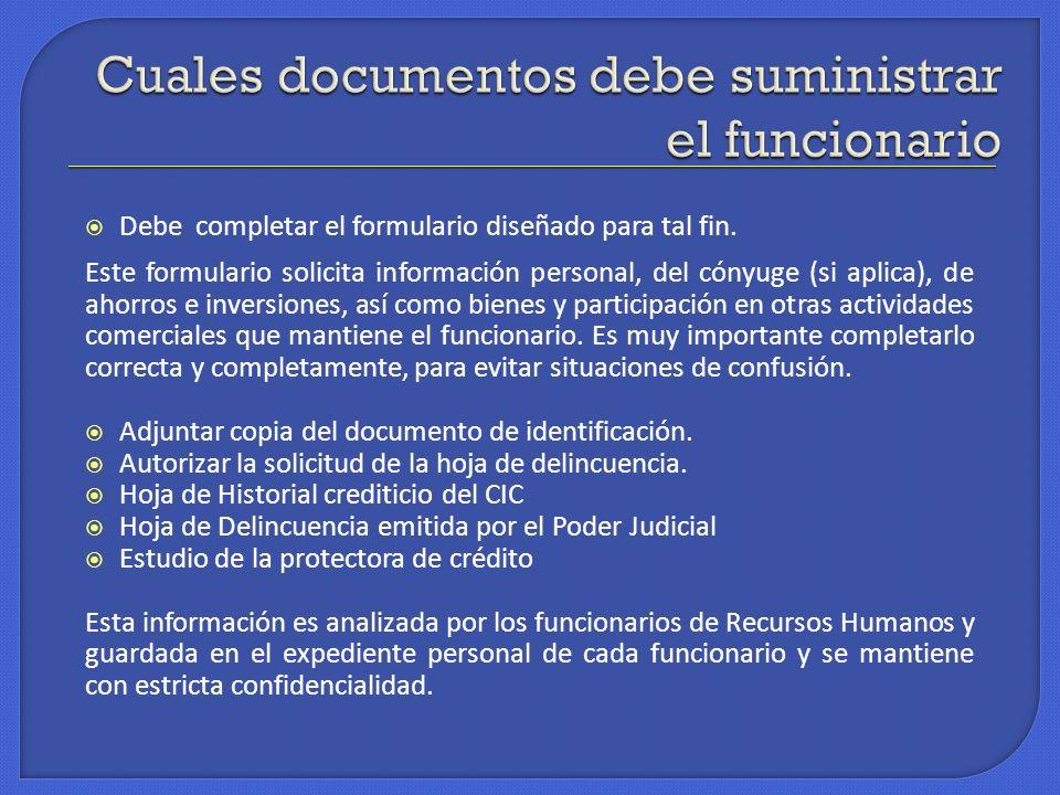 Cuales documentos debe suministrar el funcionario